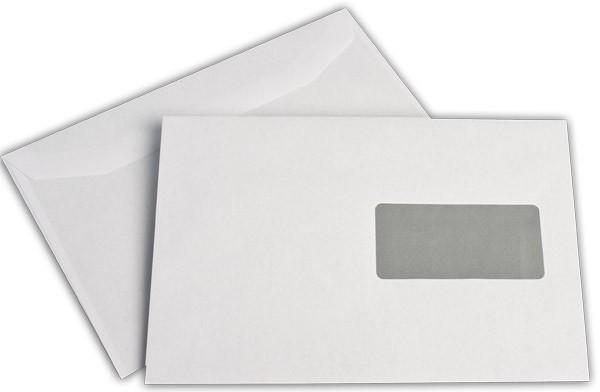 Kuvertierhüllen m. F. Fenster rechts Weiss innen Grau chlorfrei 162x229 mm C5 80g/qm