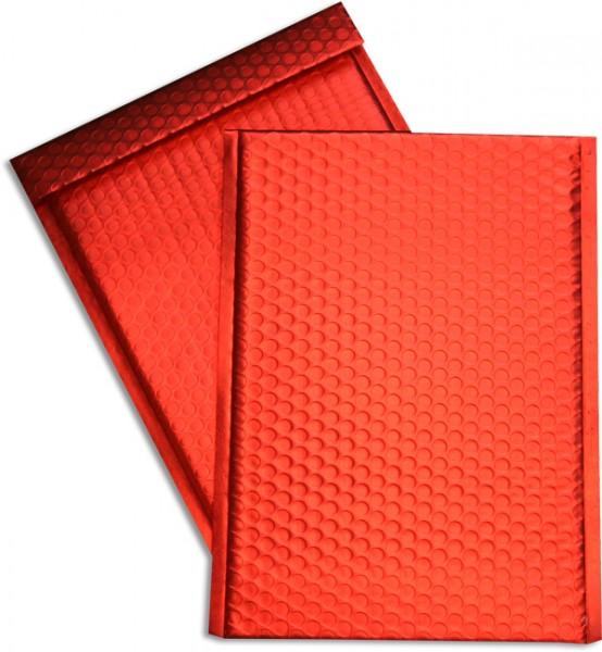 Metallic Bubble Bags Haftstreifen Rot matt Luftpolster 220x320 mm