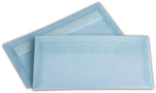 Briefumschläge transparent Haftstreifen o. F. Eisblau 110x220 mm DL 100g/qm