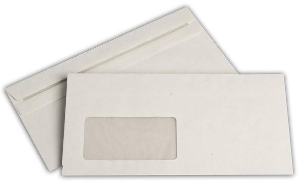 Briefumschläge m. F. Weiss innen Grau Recycling 110x220 mm DL 80g/qm