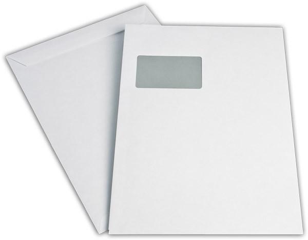 Versandtaschen Haftstreifen m. F. Weiss innen Grau chlorfrei 229x324 mm C4 100g/qm