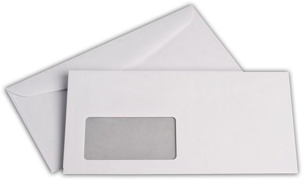 Kuvertierhüllen m. F. Weiss innen Grau ISK chlorfrei 114x229 mm C6/5 100g/qm