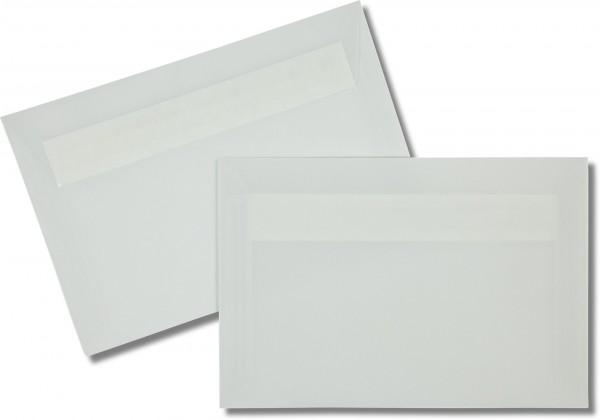 Briefumschläge transparent Haftstreifen o. F. Weiss 120x180 mm 92g/qm