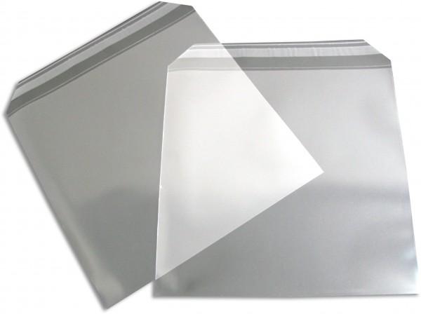 Polypropylen-Briefumschläge Haftstreifen kleine Breitseite transparent 220x220+30 mm 100my