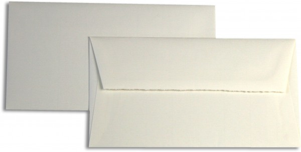 Briefumschläge Weiss Echt Bütten halbmatt gerippt 119x220 mm 120g/qm