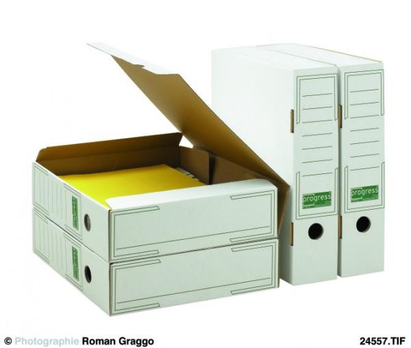 ECO Ablagebox 324x262x75 für Abheftbügel geeignet aus Wellpappe weiss