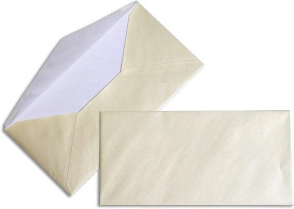 Pearls Briefhüllen nassklebend Seidenfutter Ivory Pearl 110x220 mm DL 90g/qm