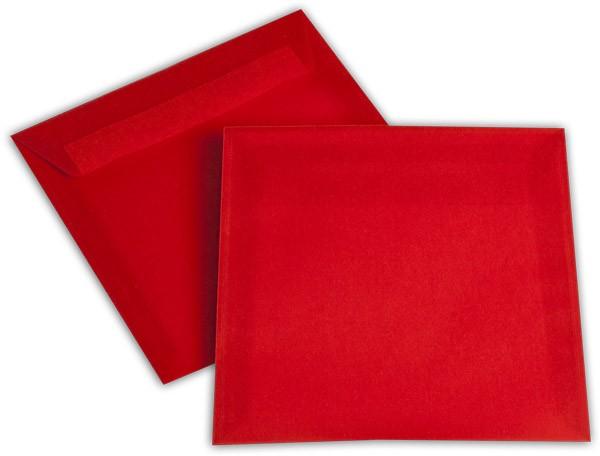 Briefumschläge transparent Haftstreifen o. F. Intensivrot 170x170 mm 100g/qm