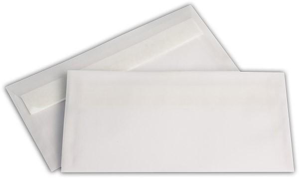 Briefumschläge transparent Haftstreifen o. F. Weiss 114x229 mm DL 92g/qm