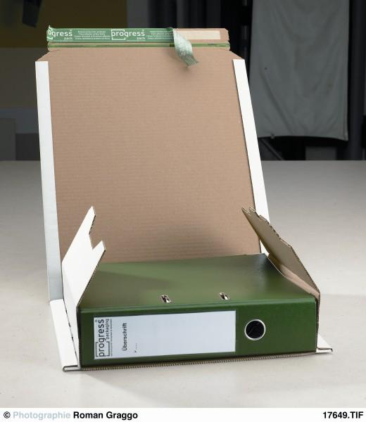 Ordner-Versandverpackung PREMIUM 370x297x -90 aus Wellpappe weiss
