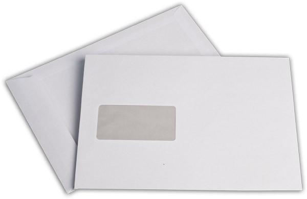 Versandtaschen Haftstreifen m. F. Weiss innen Grau chlorfrei 176x250 mm B5 90g/qm