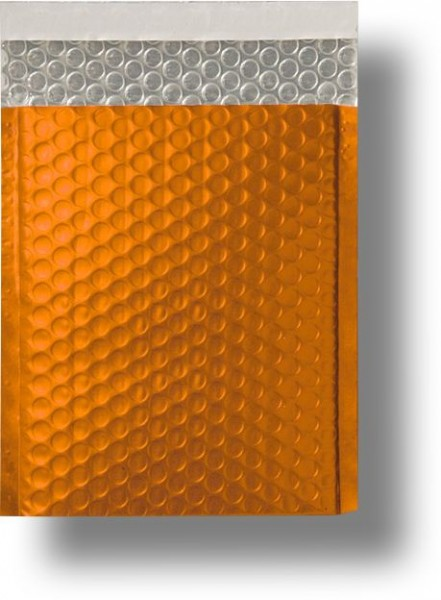 Metallic Bubble Bags Haftstreifen Orange matt Luftpolster 170x245 mm