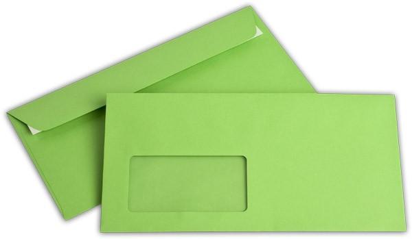 """Briefumschläge mit Haftstreifen """"Office Color"""" m. F. Intensivgrün 114x229 mm C6/5 100g/qm"""