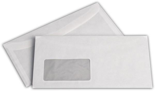 Kuvertierhüllen m. F. Weiss innen Grau chlorfrei 114x229 mm C6/5 60g/qm
