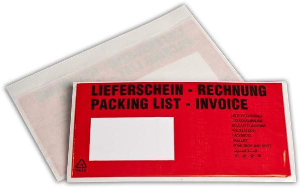 Begleitpapiertaschen Rot Lieferschein Rechnung 140x240 mm