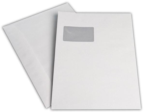 Kuvertierhüllen m. F. Weiss innen Grau chlorfrei 229x324 mm C4 90 g/qm