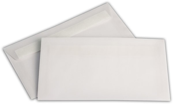 Briefumschläge transparent Haftstreifen o. F. Weiss 125x235 mm KO 92g/qm