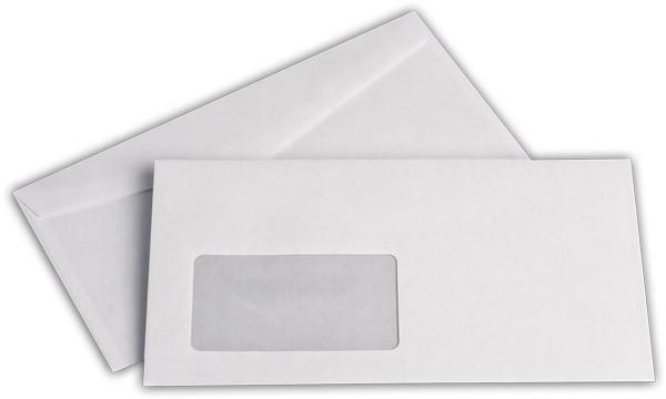 Kuvertierhüllen m. F. Weiss innen Grau chlorfrei 110x220 mm DL 75g/qm