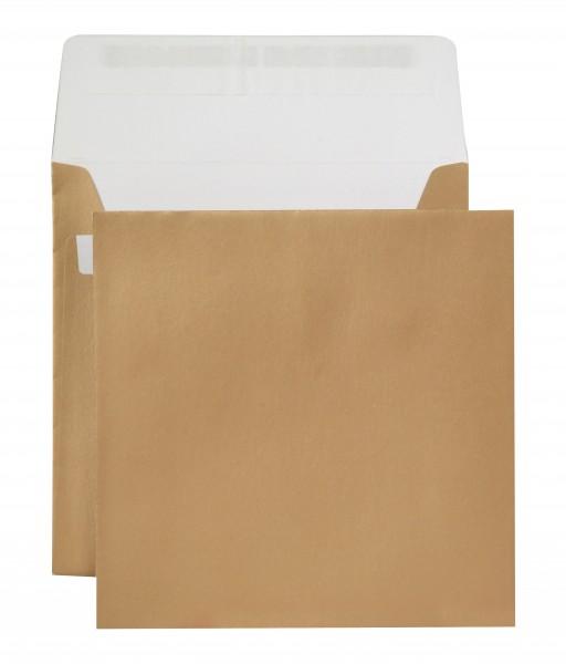 Briefumschläge Haftstreifen metallic o. F. Gold chlorfrei 220x220 mm Sonderfromat 130g/qm