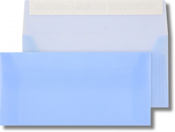Briefumschläge transparent Haftstreifen o. F. Hellblau 110x220 mm DL 110g/qm