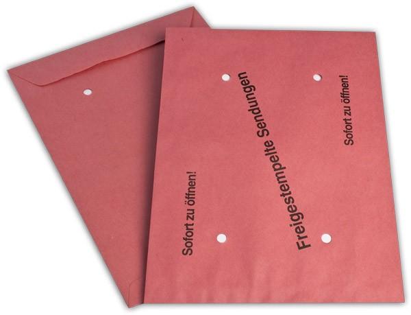 Versandtaschen nassklebend o. F. Rot Freistempel 250x353 mm B4 90g/qm
