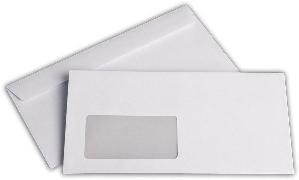 Briefumschläge Haftstreifen m. F. Weiss innen Grau lasergeeignet chlorfrei 110x220 mm DL 80g/qm